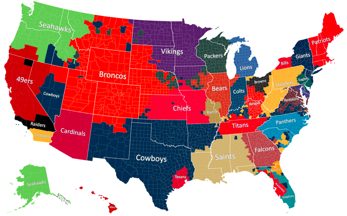 Favorite NFL Team by County